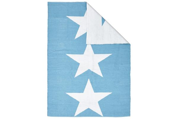 Coastal Indoor Out door Rug Star Turquoise White 270x180cm