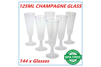 144 x Disposable Plastic Champagne Flutes 125ml Wedding Party Wine Glasses Glass Cups