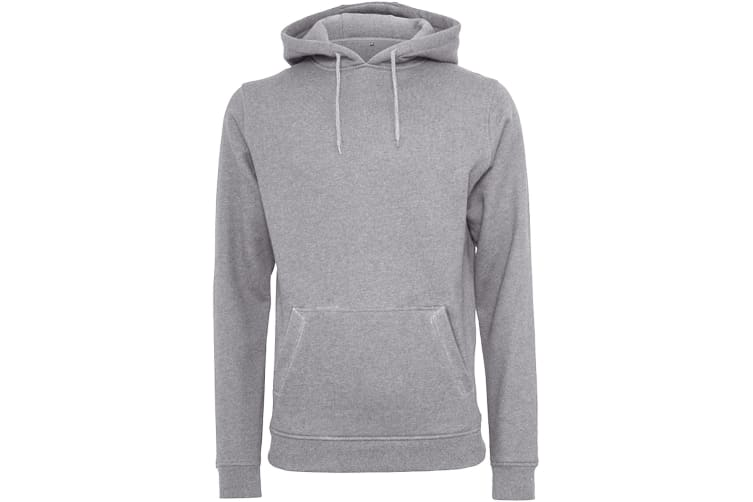 Build Your Brand Mens Heavy Pullover Hoodie (Heather Grey) (S)