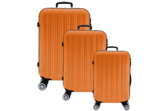 3pc Lenoxx Luggage Travel Case Set w/ Locks Orange