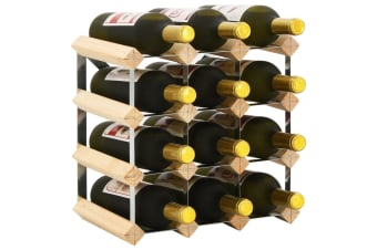 vidaXL Wine Rack for 12 Bottles Solid Pinewood