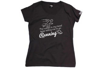 Personal Best Running Tee - The Voices In My Head Keep Telling Me To Go - (Large Black Womens T Shirt)