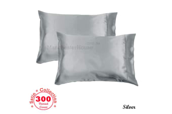 300TC Deluxe Essentials Satin Standard Pillowcases Silver by Accessorize