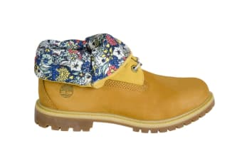 Timberland Women's Authentics Roll Top Boots (Wheat Nubuck Canvas Floral)