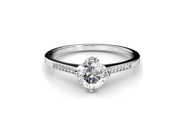 Covenant Ring w/Swarovski Crystals-White Gold/Clear Size US 7