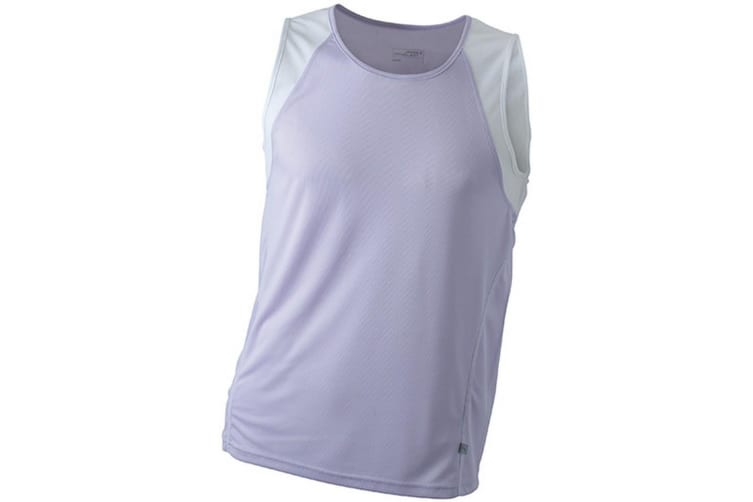 James and Nicholson Mens Running Tank Top (Lilac/White) (M)
