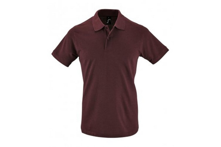 SOLS Mens Perfect Pique Short Sleeve Polo Shirt (Heather Oxblood) (M)