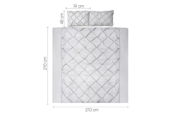 Giselle Bedding Diamond Stitch Quilt Cover Set (Queen/Grey)