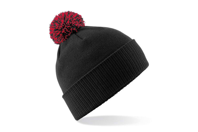 Beechfield Girls Snowstar Duo Extreme Winter Hat (Black/Classic Red) (One Size)