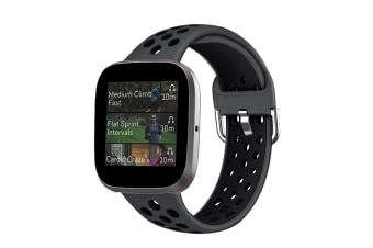 Select Mall Smart Watch Wristband 2-color Silicone Strap Reverse Buckle Watch Band for Fitbit Versa 2 1-4