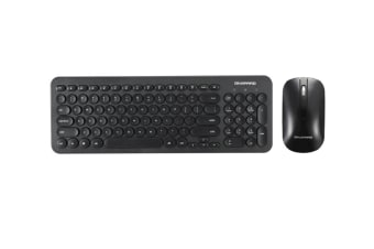 Retro Silent Keyboard 2.4G Wireless Keyboard And Mouse Set - Black Black