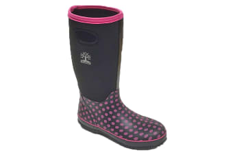 Woodland Womens/Ladies Pull On Polka Dot Wellington Boots (Black/Fuchsia)