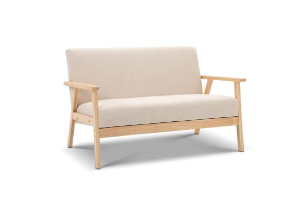 2 Seater Fabric Sofa Couch Beige