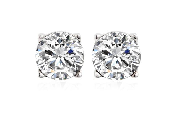Simply Studs Earringsw/Swarovski Crystals-White Gold/Clear