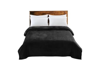 Heavy Mink Soft Blanket Polyester Throw Queen King Size 320GSM Warm Soft X Large  -  BlackXL