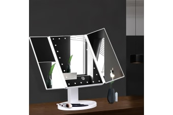 Makeup Mirror With 22 LED Light 1X2X3X Magnifying Tri-Fold Touch