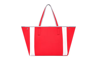 Urban Originals Women Byron Neoprene Tote Handbag w/Removable Pouch Red/Grey