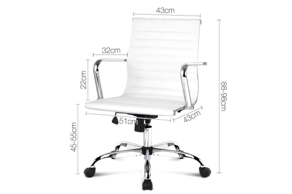 Replica Eames Pu Leather Low Back Office Chair White