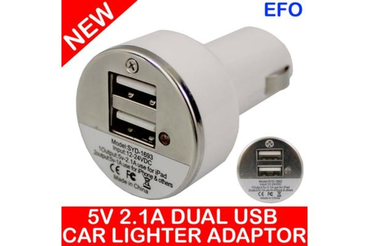 2X Input Usb Car Charger For Ipad Iphone 12V Dc Socket 5V 2.1A White Syd-1693