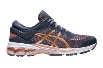 ASICS Women's Gel-Kayano 26 Running Shoe (Metropolis/Rose Gold, Size 6.5 US)