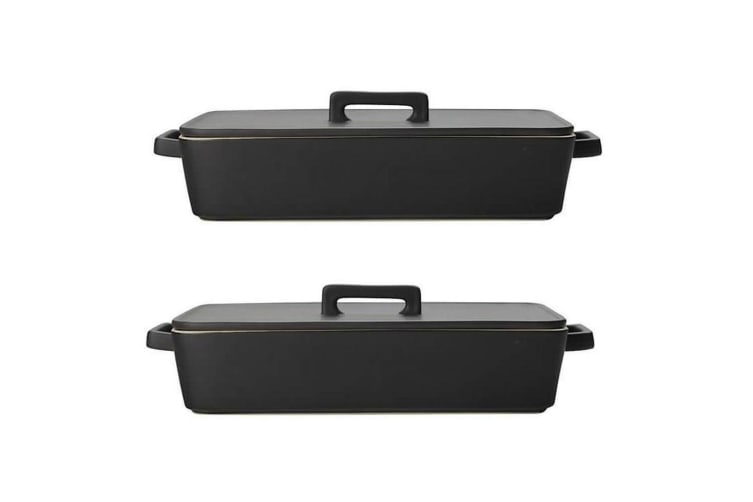 2PK Maxwell & Williams 32x7cm Epicurious Square Roasting Baking Dish w Lid Black