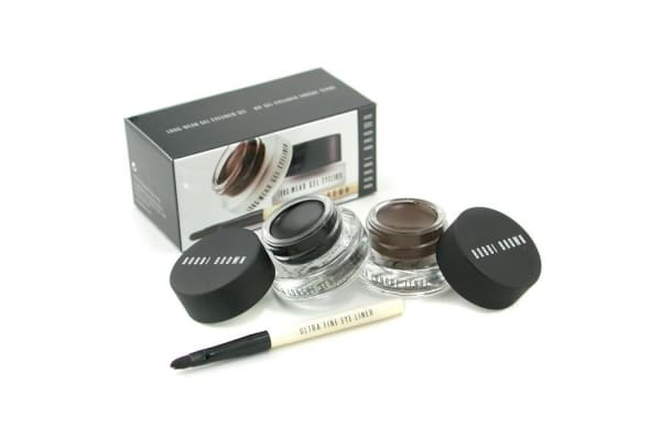 Bobbi Brown Long Wear Gel Eyeliner Duo: 2x Gel Eyeliner 3g (Black Ink, Sepia Ink) + Mini Ultra Fine Eye Liner Brush (3pcs)
