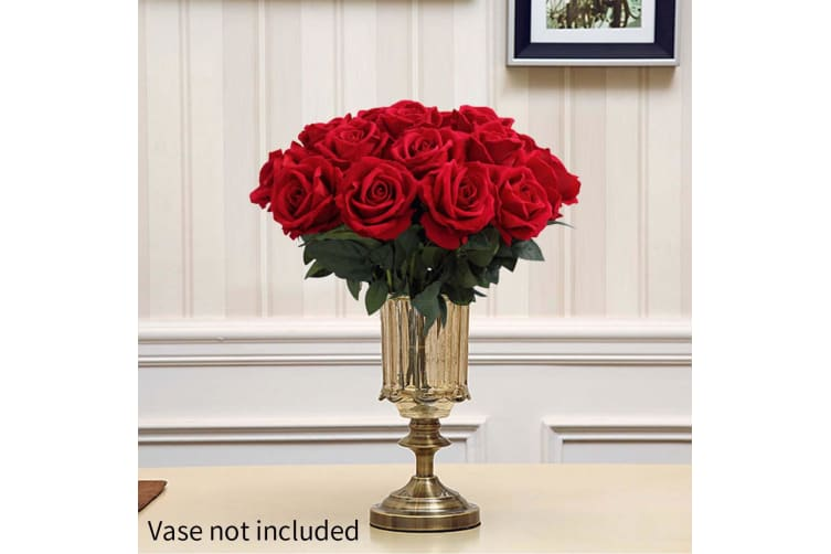 SOGA 5pcs Artificial Silk Flower Fake Rose Bouquet Table Decor Red