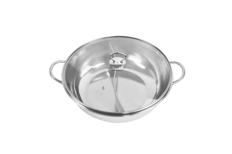 34cm Stainless Steel Twin Mandarin Duck Hot Pot Induction Cooker Without Lid