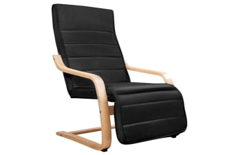 Birch Bentwood Adjustable  Lounge Arm Chair with Fabric Cushion (Black)