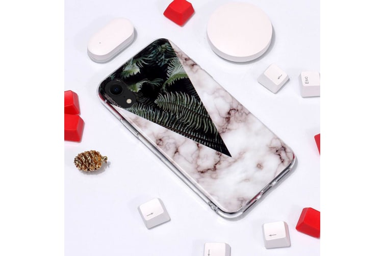 Marble Pattern TPU Soft Protective Case For iPhone XR Leaves
