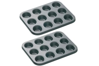 2PK Mastercraft Mini Non-Stick 12-Cup Baking Muffin Cupcake Mold Tray Pan Cups