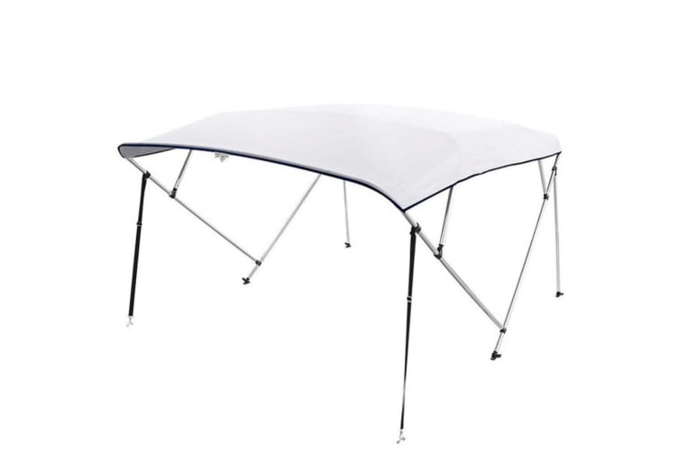 Kaiser Boating 4 Bow 1.8-2.0m Bimini Top Boat Canopy - 200cm length - White - Complete kit includes Aluminium Frame + 600D Oxford Polyester Cover + Rear Poles + Sock