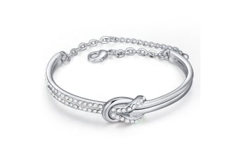 Twist Banglet w/Swarovski Crystals-White Gold/Clear