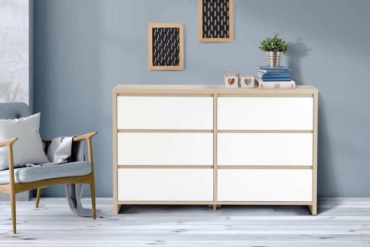 Ovela Chest of 6 Drawers - Bergen Collection (White & Birch)