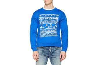 Rick And Morty Unisex Adults Bad Christmas Design Crewneck Sweatshirt (Blue) (XXL)