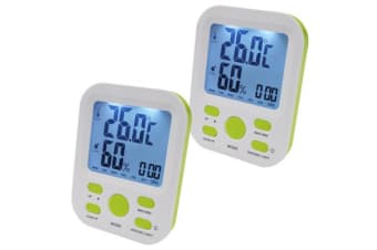 2X Electronic Digital Thermometer Hygrometer Alarm Lcd Clock ?C/?F %Rh Green
