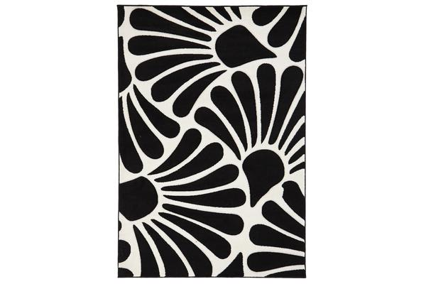 Damask Modern Fern Rug Black White 170x120cm