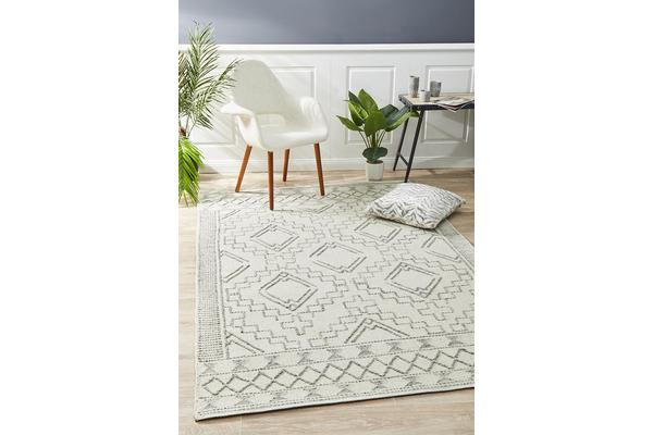 Ryder Natural White & Grey Scandi Wool Textured Rug 225x155cm