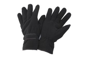 FLOSO Mens Thinsulate Winter Thermal Fleece Gloves (3M 40g) (Black) (Medium)
