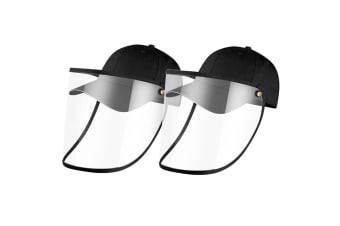 2X Outdoor Protection Hat Anti-Fog Pollution Dust Saliva Protective Cap Full Face HD Shield Cover Black