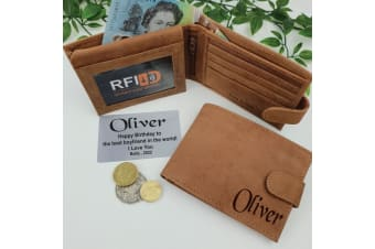 Personalised Brown Leather Wallet RFID - Birthday