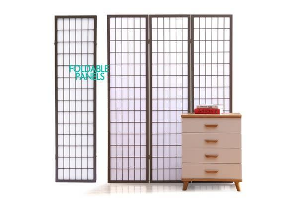 Wooden Foldable Room Divider in GREY 6 Panel