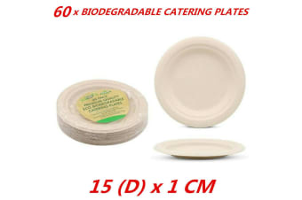 60 x Eco Friendly Disposable Round Plates Biodegradable Sugarcane Party 15cm