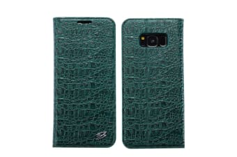 For Samsung Galaxy S8 Wallet Case Fierre Shann Crocodile Leather Cover Green