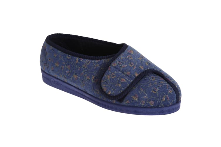 Comfylux Womens/Ladies Helen Floral Superwide Slippers (Blueberry) (4 UK)