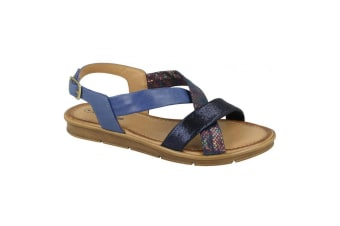 Leather Collection Womens/Ladies Flat Sling Back Sandals (Blue)