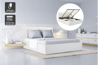 Ovela Bed Frame - Siena Gas Lift Collection (White)
