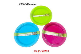 96 x Reusable Plastic Plate Kitchenware Party Round Food Travel Durable BPA Free