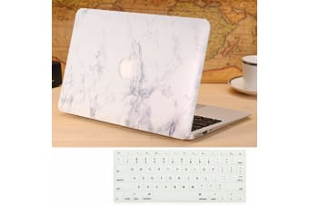 "Marble Frosted Matte Hard Case with Free Keyboard Cover for MacBook Pro 13"" 2016-2018 A1708(no Touch Bar)-White Marble"