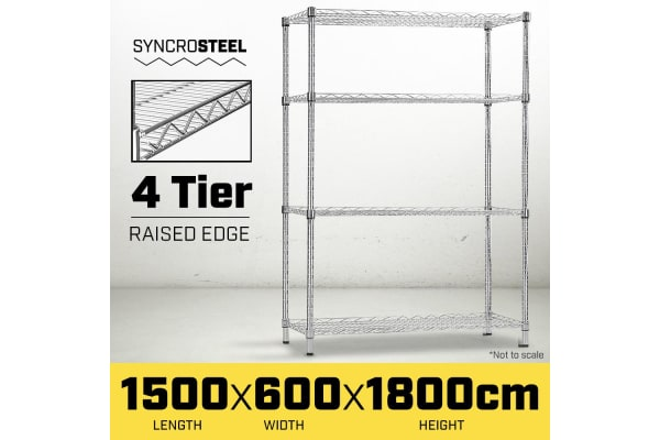 Syncrosteel Chrome Wire Shelving Storage Unit - 1500x600mm - 1.8m High